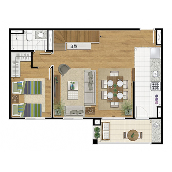 Planta duplex inferior 2 dorm 2 suites