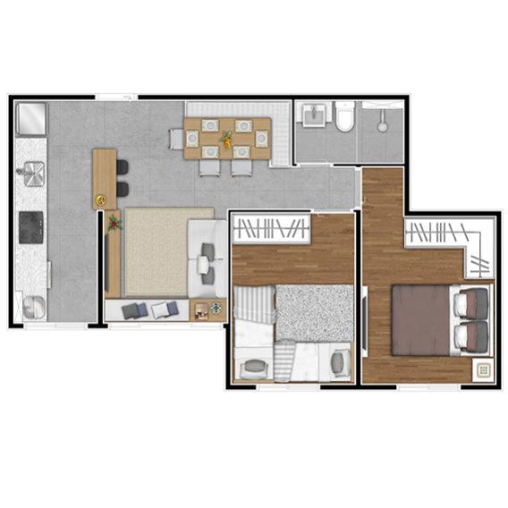 Planta Aptos finais 3, 4 e 5 (2 Dorms - 46,48 m² e 46,74 m²)