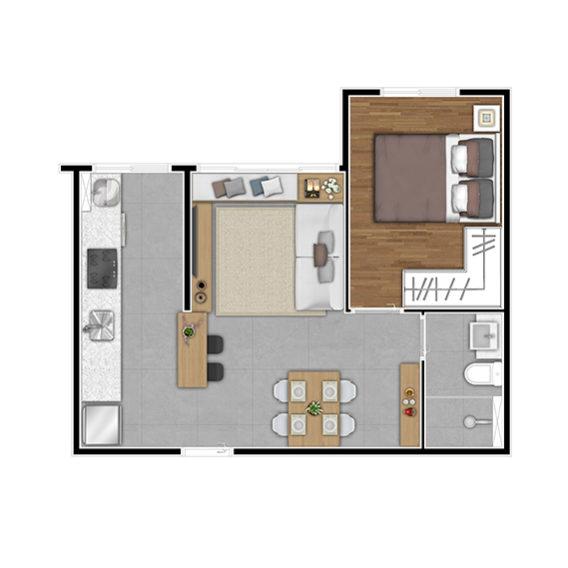 Planta Aptos finais 6 (1 Dorm - 34,82 m²)