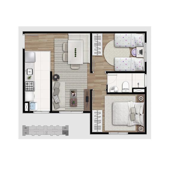 2 dorms (Tipo A)