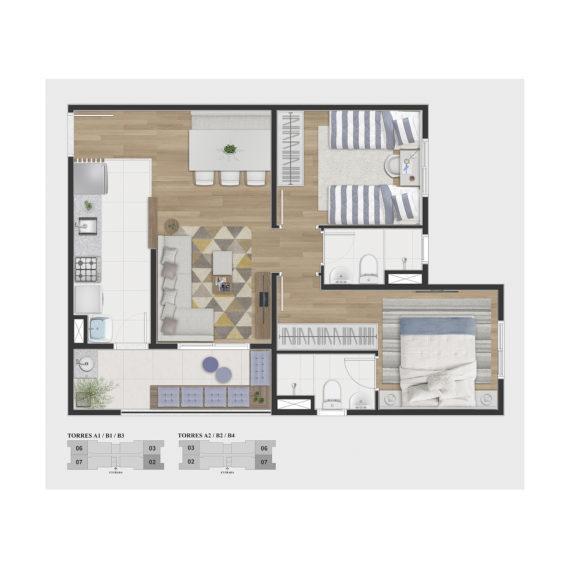 2 dorms c/ suite (Tipo A)