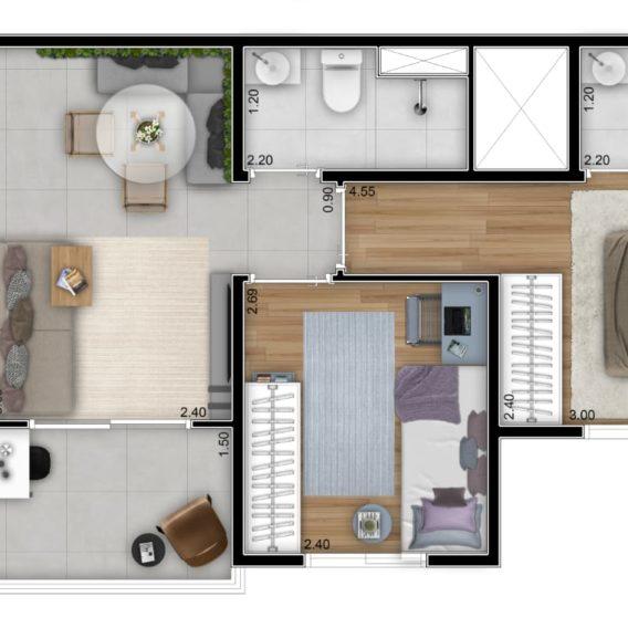 2 Dorms com Suite